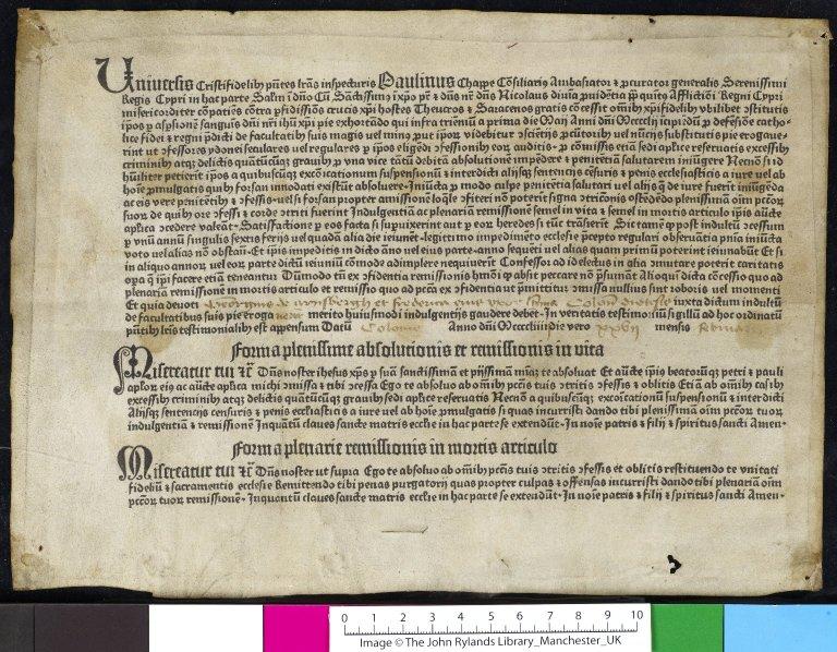 1454 indulgence (Rylands Library)