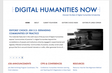 Digital Humanities Now Homepage