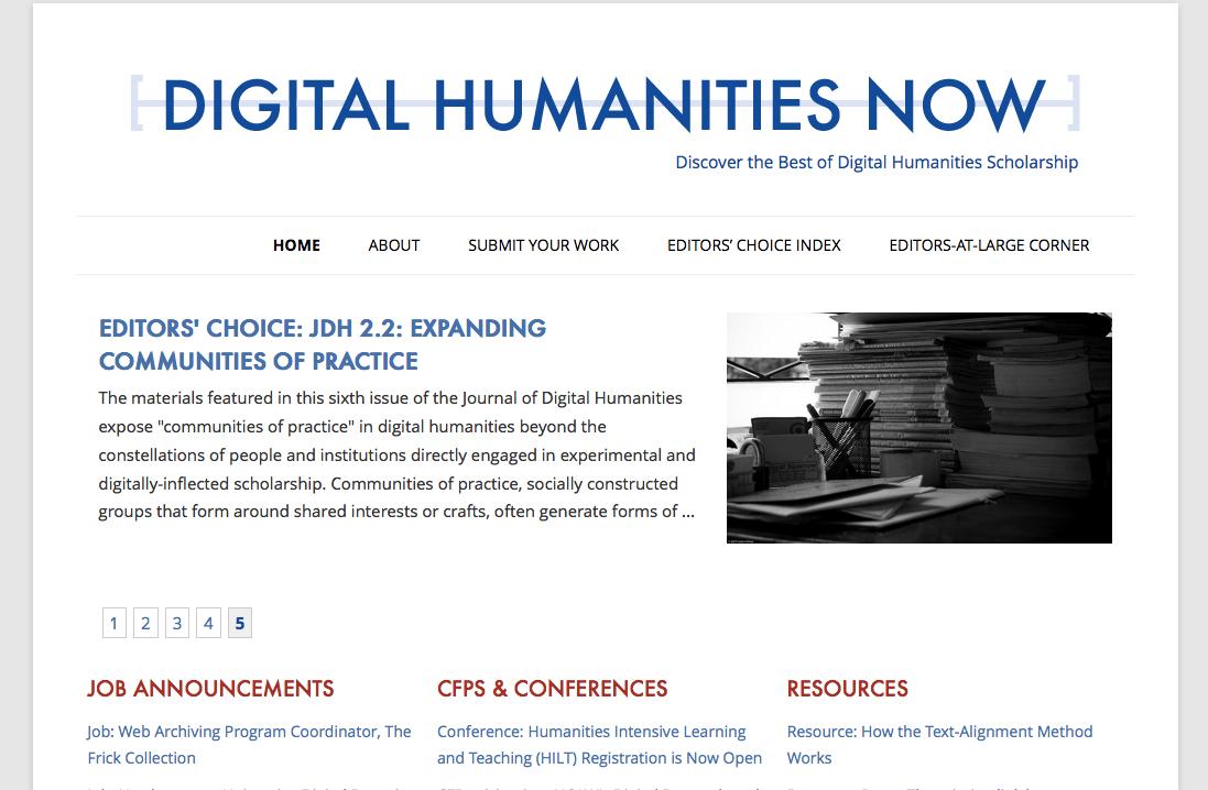 Digital Humanities Now Homepage
