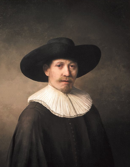 "A new ""Rembrandt"" portrait painting of a man created using a 3D printer."