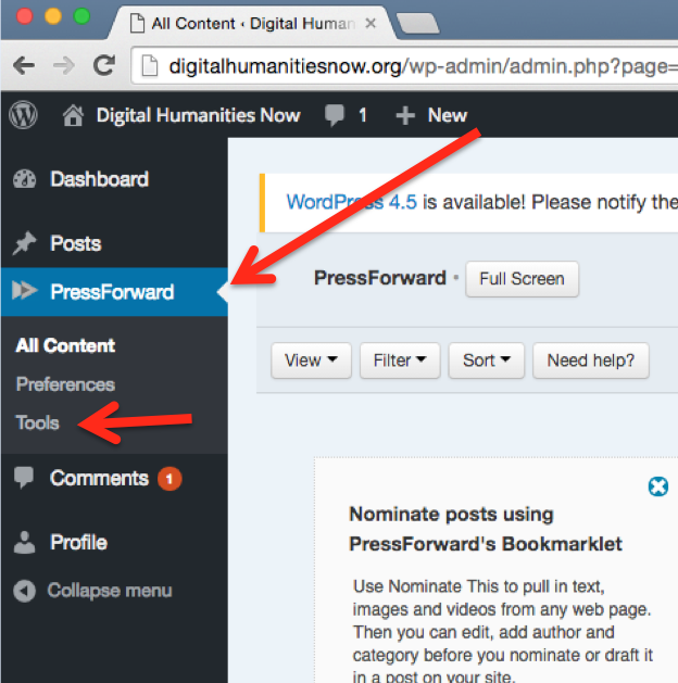 A screen shot showing the location of the Press Forward and tools tabs.