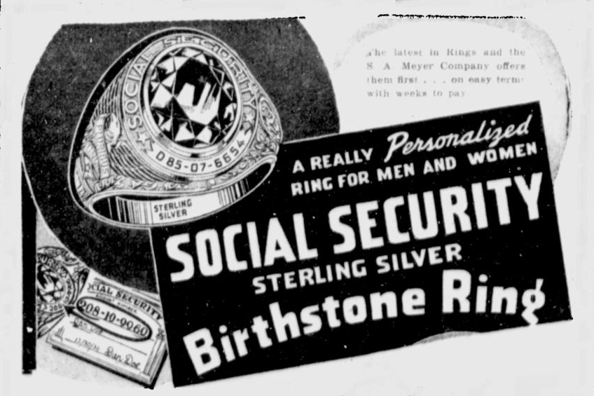 An advertisement for a social security ring.