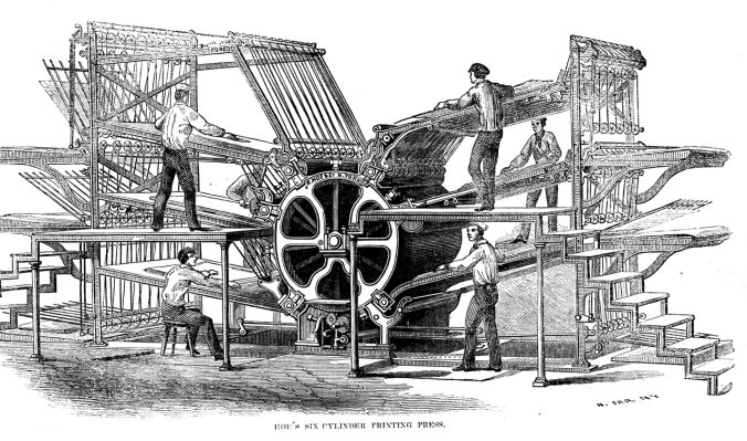 A drawing of a printing machine.