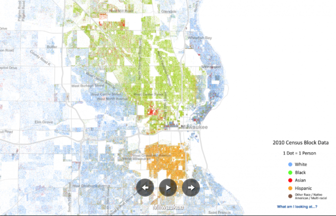 Map showing the effects of redlining