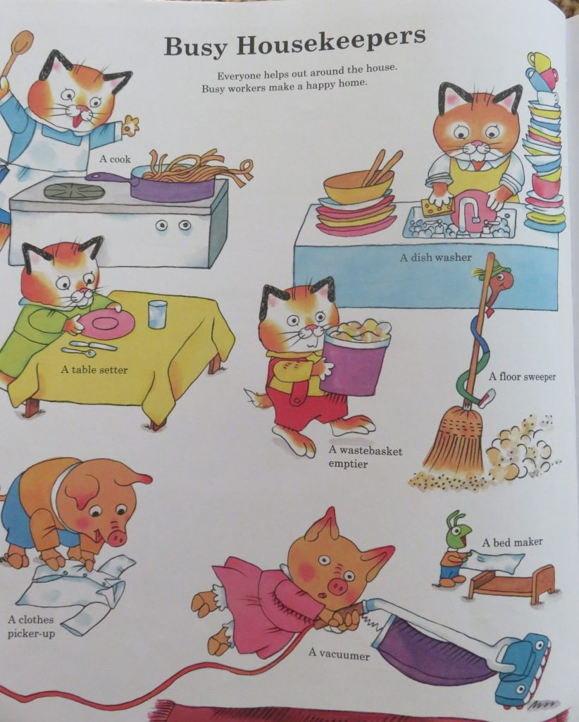 Illustration of animals doing housework from Richard Scarry's children's book Busy Busy Town