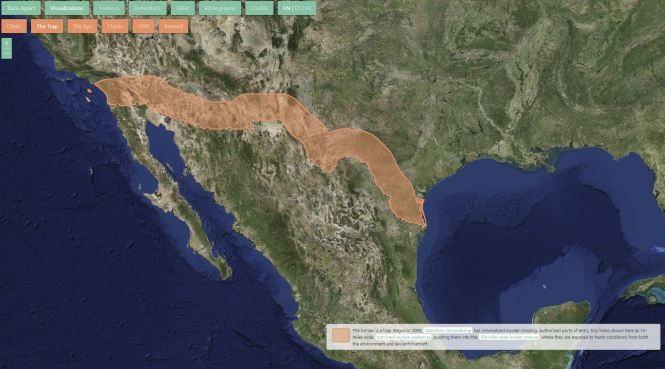Map showing the Mexico-U.S. border from the Torn Apart / Separados website