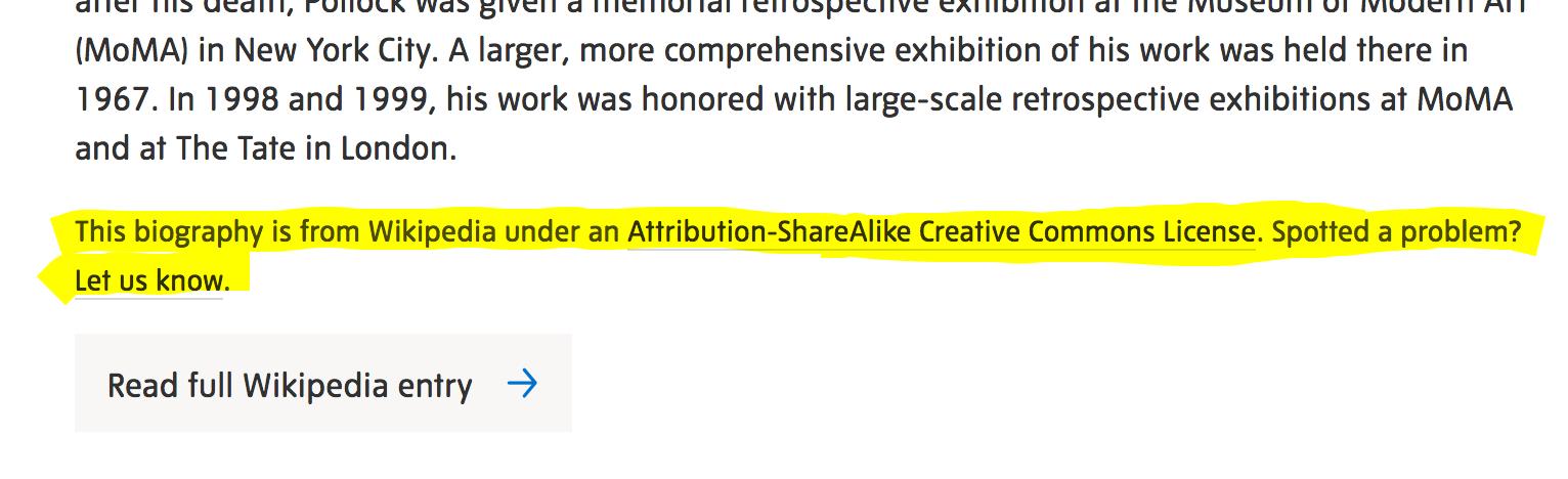 A screenshot of the Tate's citation of Wikipedia