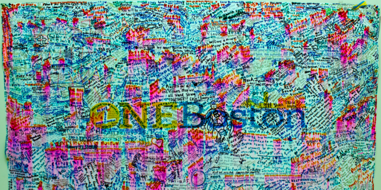 Image that says One Boston, covered in writing from many people
