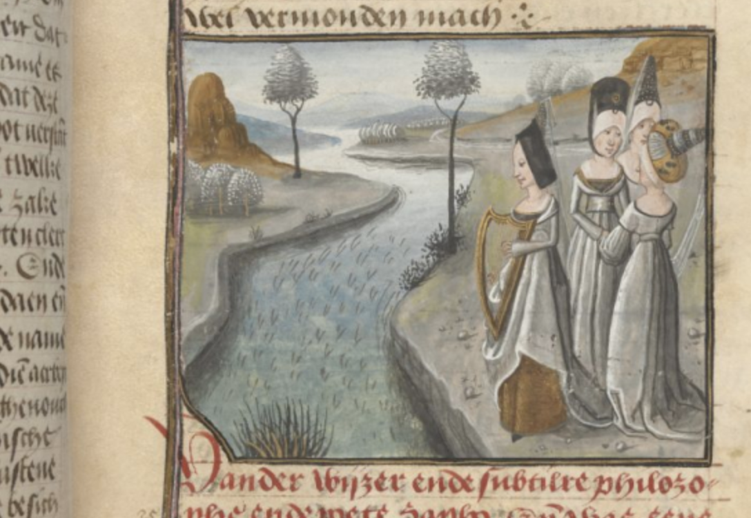 Miniature of Sappho and her companions, from a Dutch translation of Christine de Pizan's Livre de la Cité des Dames, Bruges, 1475. Image via the British Library, Add MS 20698, f. 73r.