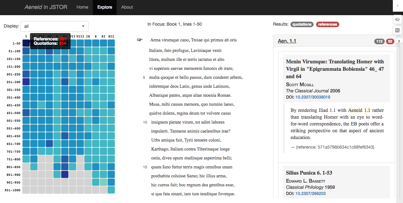Cited Loci of the Aeneid: a screenshot of the search interface