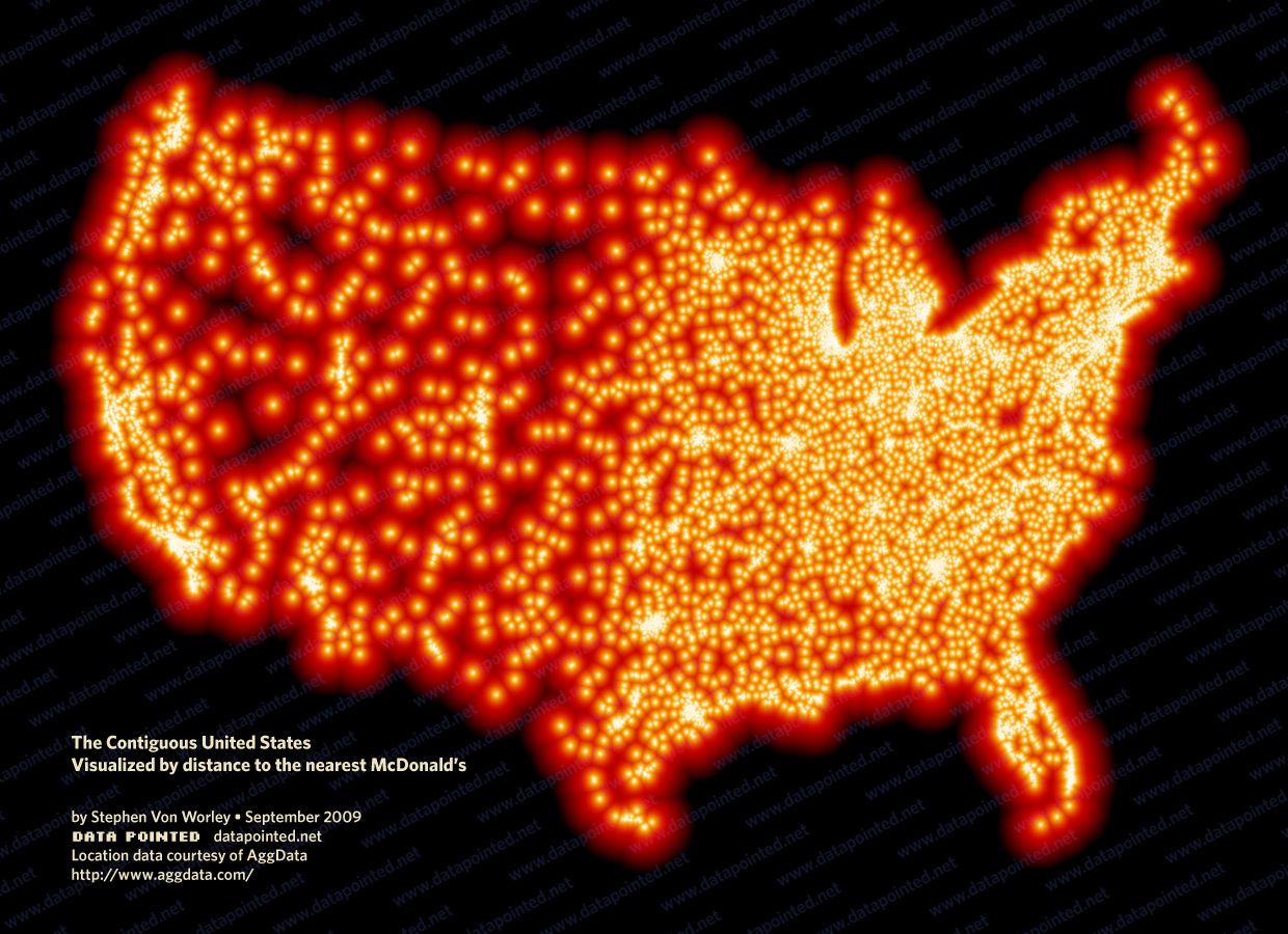 Choropleth map visualizing the United States by distance to the nearest McDonald's