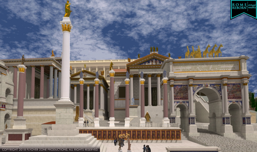 The west side of the Roman forum as seen in the virtual reality program called Rome Reborn (all images courtesyFlyover Zone Productions unless otherwise noted)
