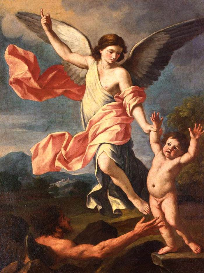 Giacinto Gimignani - An Angel and a Devil Fighting for the Soul of a Child