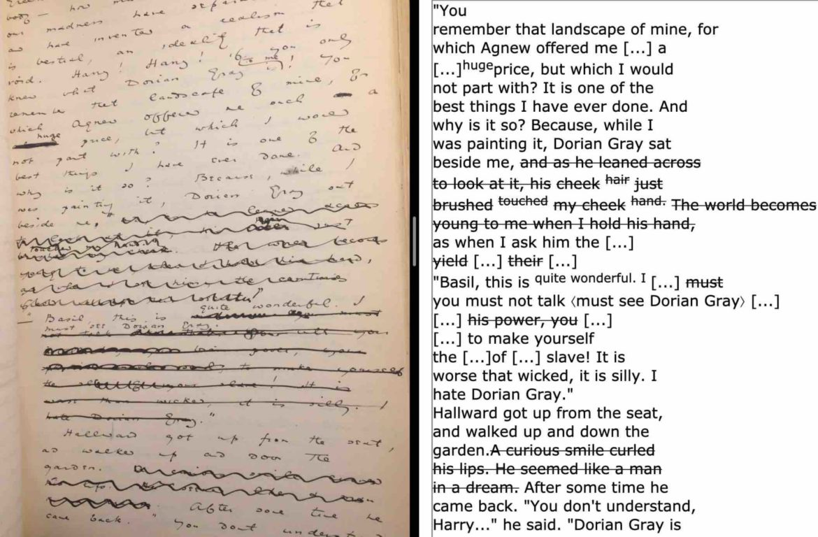 """Image from Oscar Wilde's manuscript of """"The Picture of Dorian Gray"""""""
