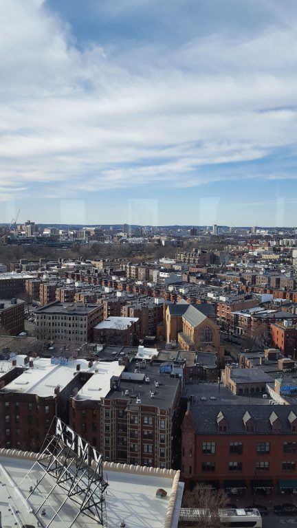 The view from the CNI-ARL Digital Scholarship Planning Workshop at Northeastern University, 18 floors above Boston