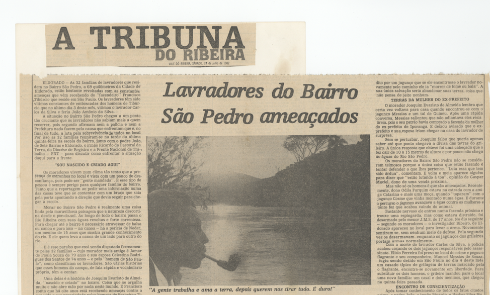 A 1982 newspaper clipping documenting territorial dispossession of peasant communities in the Ribeira Valley.