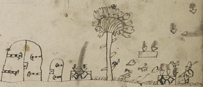 Drawing of gardens and doors