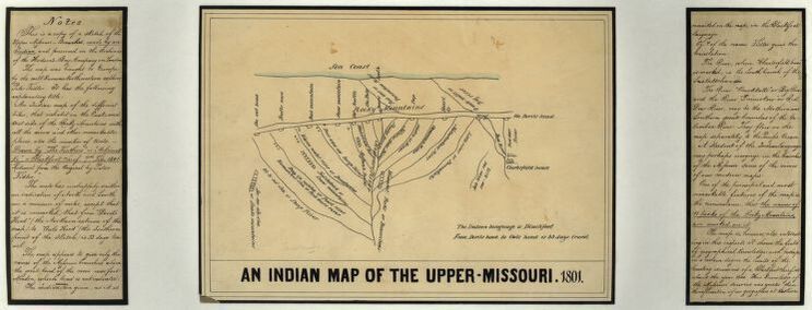 """An Indian Map of the Upper Missouri, 1801"" derived from an original sketch by Ackomak-Ki, with later contributors Peter Fidler and J.G. Kohl (c.1850)"