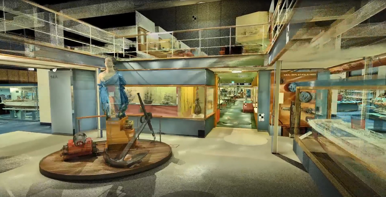 Still from the Science Museum, London's, Shipping Gallery Lidar scan video, showing the figurehead from HMS North Star.