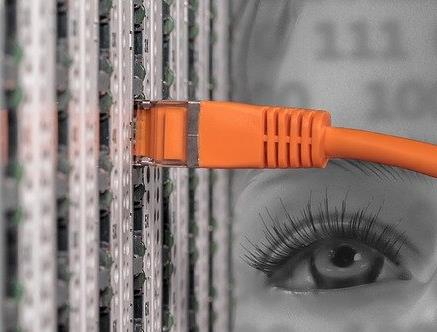 Image of a server cabinet and an eye