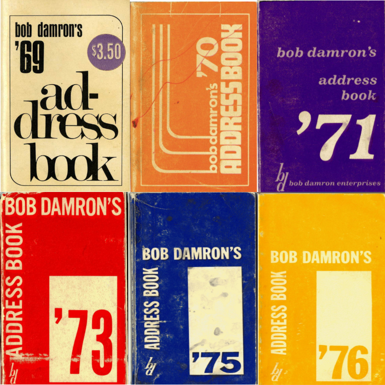 Covers from Damron's Address Book